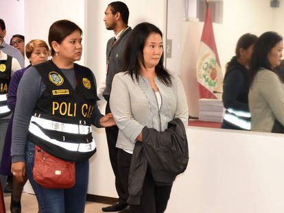 Keiko Fujimori tras ser detenida el miércoles.