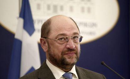 El presidente del Parlamento Europeo, Martin Schulz, el lunes en Atenas.