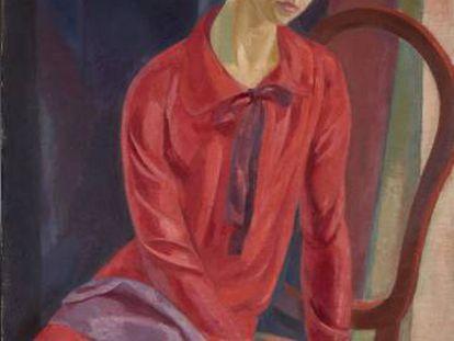 'Mujer de rojo', de Daniel Vázquez Díaz, una de las obras donadas por Botín.