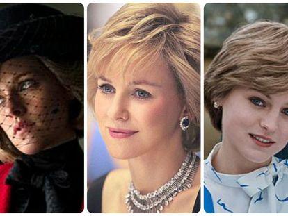 Desde la izquierda, Kristen Stewart, Naomi Watts y Emma Corrin, como la princesa Diana de Gales.