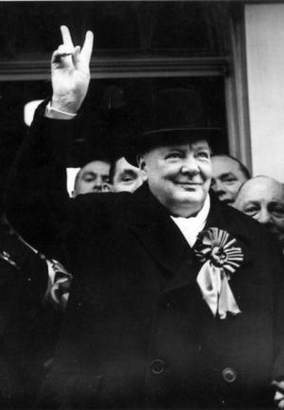 Winston Churchill durante la campaña electoral de 1949