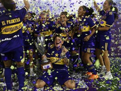Las futbolistas de Boca Juniors tras ganar la Liga, en enero pasado.