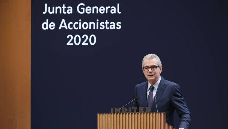 El presidente de Inditex, Pablo Isla, durante la junta general de accionistas 2020 de la compañía, el 17 de julio.