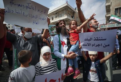 Protesta contra Bachar el Asad, el pasado septiembre en la ciudad insurrecta de Idlib.