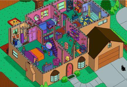 Planta superior de la vivienda de la familia Simpson en la recreación de Andrew Delong.