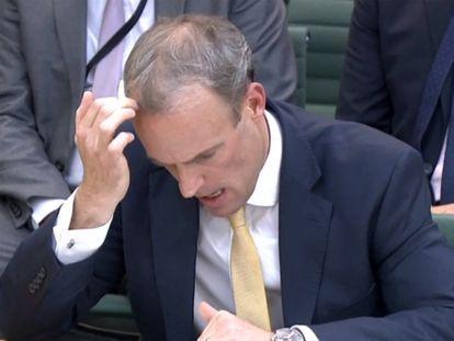 El ministro británico de Exteriores, Dominic Raab, este miércoles, durante su comparecencia ante la Comisión de Exteriores de la Cámara de los Comunes.