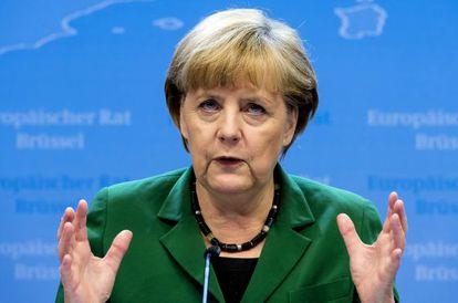 Merkel, en Bruselas, durante la rueda de prensa posterior al consejo.