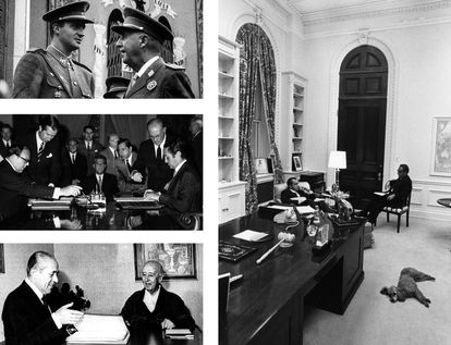 A la izquierda, desde arriba, Franco conversa con el príncipe Juan Carlos durante un desfile militar, en Madrid en 1966. Firma en septiembre de 1970 del Convenio de Amistad y Cooperación entre España y los Estados Unidos entre el ministro de Asuntos Exteriores, Gregorio López Bravo (a la derecha) y el embajador de los EE UU Robert C. Hill (izquierda). Debajo, Franco, ingresado por flebitis, atiende al presidente Arias Navarro en el verano de 1974. A la derecha, Nixon conversa relajadamente con Kissinger en la Casa Blanca.