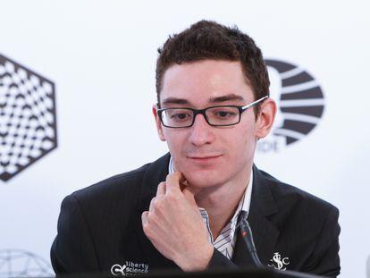 Fabiano Caruana, durante una rueda de prensa en Berlín