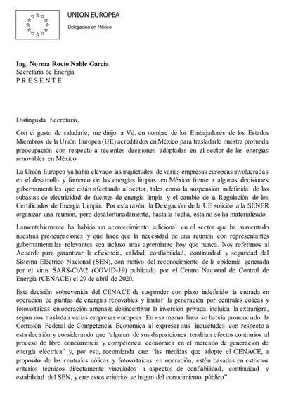 Carta de la UE al Gobierno mexicano.