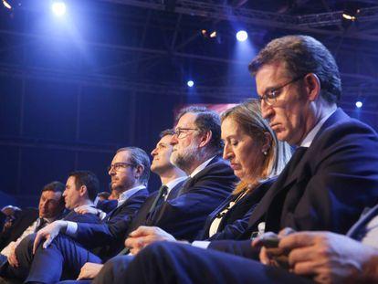 La plana mayor del PP, durante la convención.
