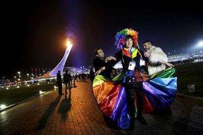 Vladimir Luxuria en la Plaza Olímpica de los Juegos de Sochi el pasado 17 de febrero.