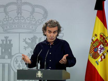 El director del Centro de Coordinación de Alertas y Emergencias Sanitarias, Fernando Simón, este jueves durante una rueda de prensa.