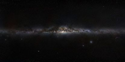 Panorámica de la Vía Láctea, la galaxia del Sistema Solar y de la extraña estrella KIC 8462852