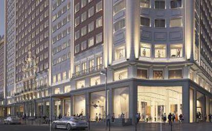 Recreación de la fachada renovada del hotel en el Edificio España, en la esquina de Gran Vía.