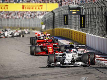 Pierre Gasly, en acción durante el GP de Rusia de la F1.