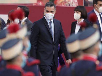 El presidente del Gobierno, Pedro Sánchez, a su llegada al desfile militar por el 12 de octubre este martes en Madrid.