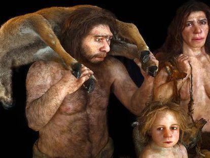 Reconstrucción de una familia neandertal realizada por el estudio Daynes de París.