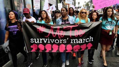 Mujeres en protesta contra el acoso sexual.