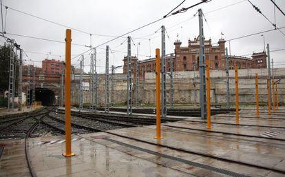 Interior de la parcela de Metro situada frente a la plaza de toros de Las Ventas.