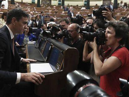 Pedro Sánchez en el Congreso de los Diputados, este miércoles.