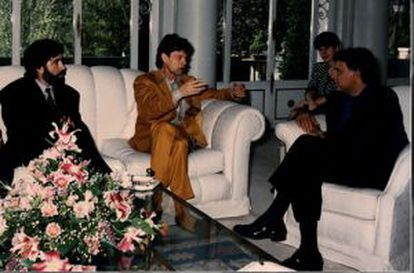 Pino Sagliocco, Mick Jagger y Felipe González.