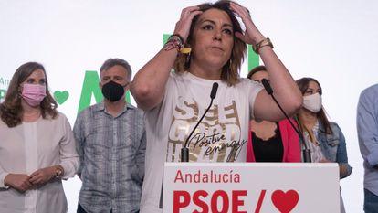 Susana Díaz, en la sede del PSOE-A, tras las primarias celebradas el pasado 12 de junio.