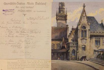Acuarela subastada con la factura original de venta de 1916.
