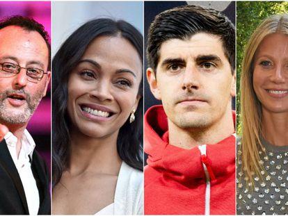 Extranjeros populares que hablan español de maravilla: Jean Reno, Zoe Saldaña, Thibaut Courtois y Gwyneth Paltrow.