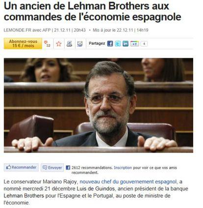 Crónica del periódico francés 'Le Monde' sobre el nuevo Gobierno de Rajoy.
