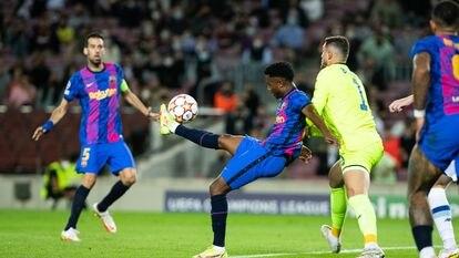 Ansu Fati, en el duelo ante el Dinamo en el Camp Nou.