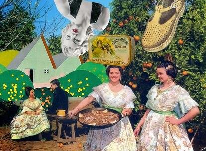 Estuches, porcelana, y carteles publicitarios con paellas y naranjas, iconos de diseño valenciano.