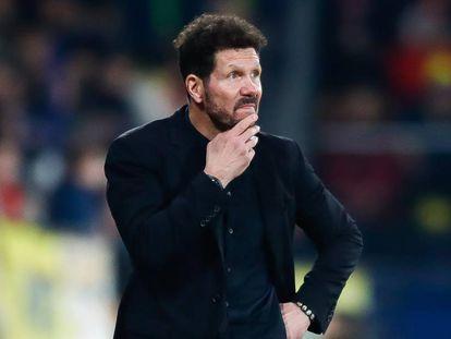 Simeone, durante el último encuentro del Atlético disputado en Villarreal (0-0). En vídeo, sus declaraciones en la rueda de prensa posterior al encuentro.