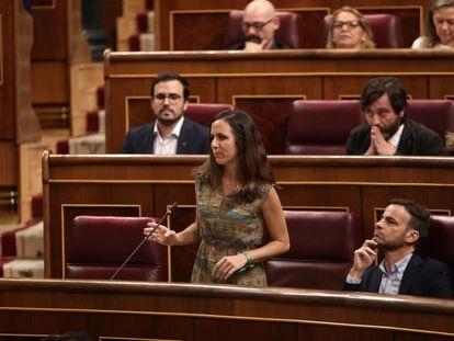 Ione Belarra, entonces portavoz parlamentaria de Unidas Podemos, interviene en el Congreso en 2019.