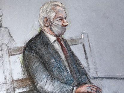 Boceto de Julian Assange durante su comparecencia en el juzgado en Londres el 4 de enero.