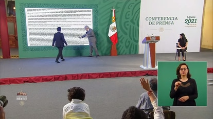 El presidente de México durante la conferencia matutina del 26 de abril de 2020.