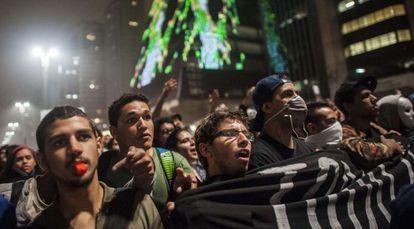 Protesta en São Paulo este martes.