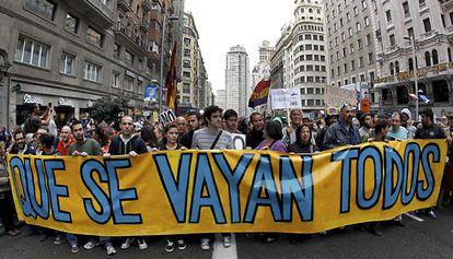 Concentración en septiembre de 2011 por la Gran Vía de Madrid