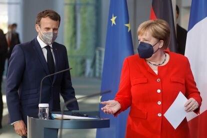 La canciller alemana, Angela Merkel, y el presidente francés, Emmanuel Macron, la semana pasada en Berlín.