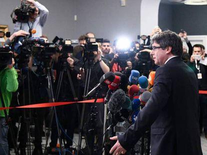 El expresident Carles Puigdemont durante una conferencia de prensa en Copenhague (Dinamarca), el pasado 23 de enero.