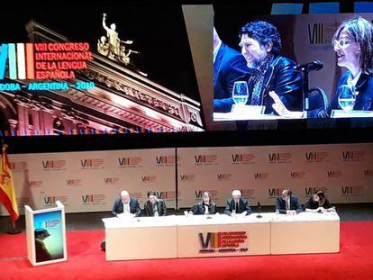 El cantautor Joaquín Sabina, durante el homenaje de la ciudad argentina de Córdoba, donde se celebra el VIII Congreso de la Lengua Española