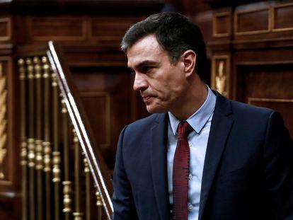 Pedro Sánchez, este jueves en el Congreso.