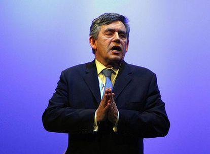 Gordon Brown, durante un discurso en el Colegio Real de Enfermeras de Harrogate (norte de Inglaterra).