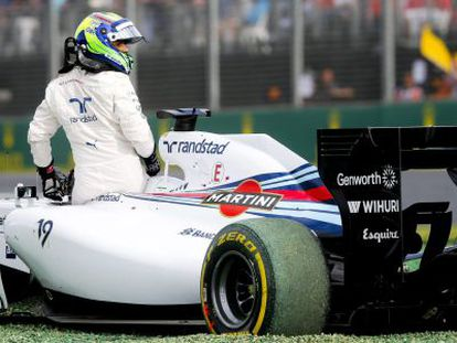 Massa, de Williams, tras el percance que sufrió su coche en Melboourne.