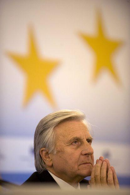 Jean Claude Trichet en la rueda de prensa tras su último Consejo de Gobierno del BCE.