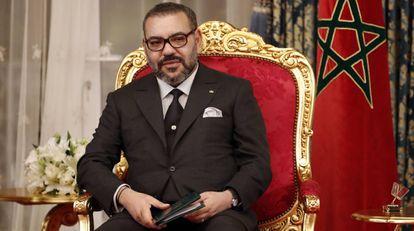 El rey de Marruecos, Mohamed VI, durante una ceremonia oficial en Rabat.