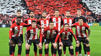 Los jugadores del Athletic, antes de un partido.