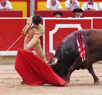 López Simón, hoy en la plaza de toros de Pamplona.