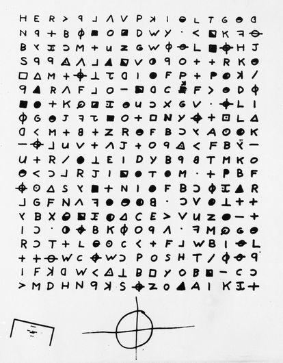 Imagen del criptograma enviado al diario 'The San Francisco Chronicle' en 1969 por el asesino del Zodiaco.