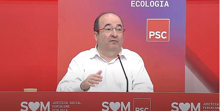 El jefe de filas del PSC, Miquel Iceta, el pasado sábado en un acto con diputados